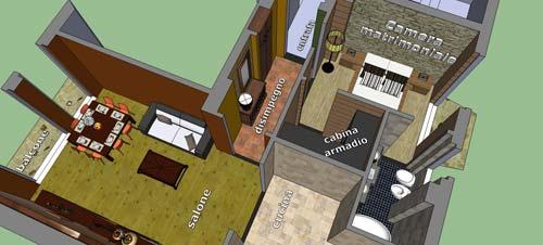 Progetto per piccolo appartamento progetto gratis - Camera da letto con bagno e cabina armadio ...